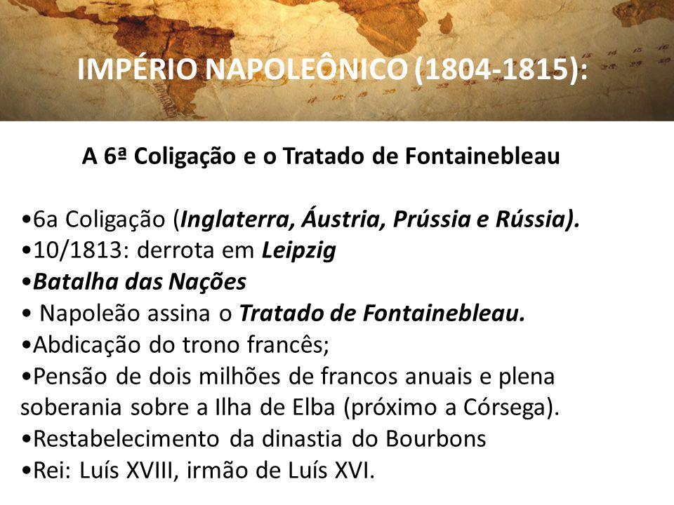 A 6ª Coligação e o Tratado de Fontainebleau 6a Coligação (Inglaterra, Áustria, Prússia e Rússia). 10/1813: derrota em Leipzig Batalha das Nações Napol