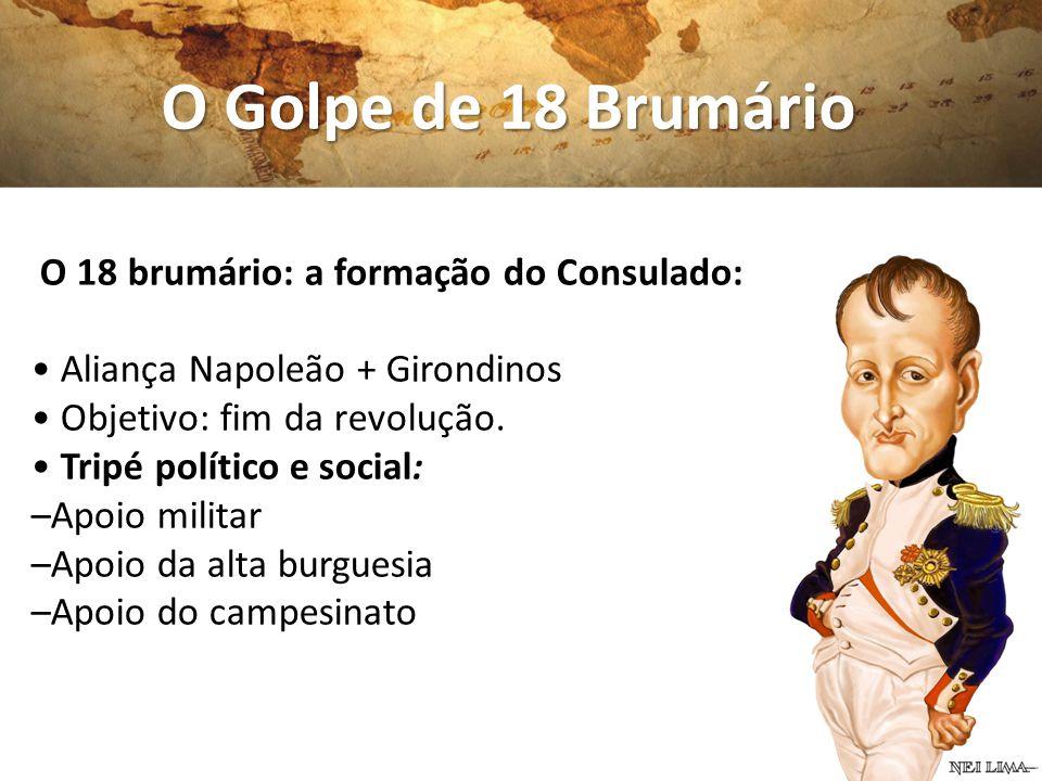 O 18 brumário: a formação do Consulado: Aliança Napoleão + Girondinos Objetivo: fim da revolução. Tripé político e social: –Apoio militar –Apoio da al