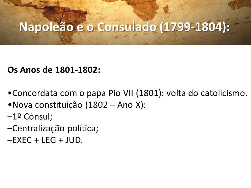 Napoleão e o Consulado (1799-1804): Napoleão e o Consulado (1799-1804): Os Anos de 1801-1802: Concordata com o papa Pio VII (1801): volta do catolicis