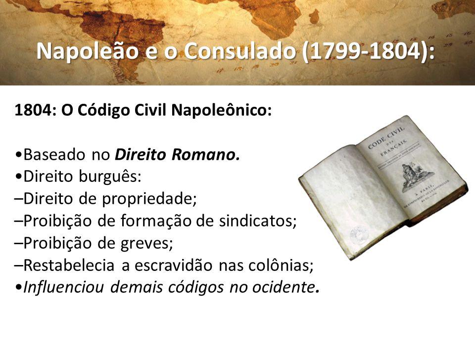 Napoleão e o Consulado (1799-1804): Napoleão e o Consulado (1799-1804): 1804: O Código Civil Napoleônico: Baseado no Direito Romano. Direito burguês: