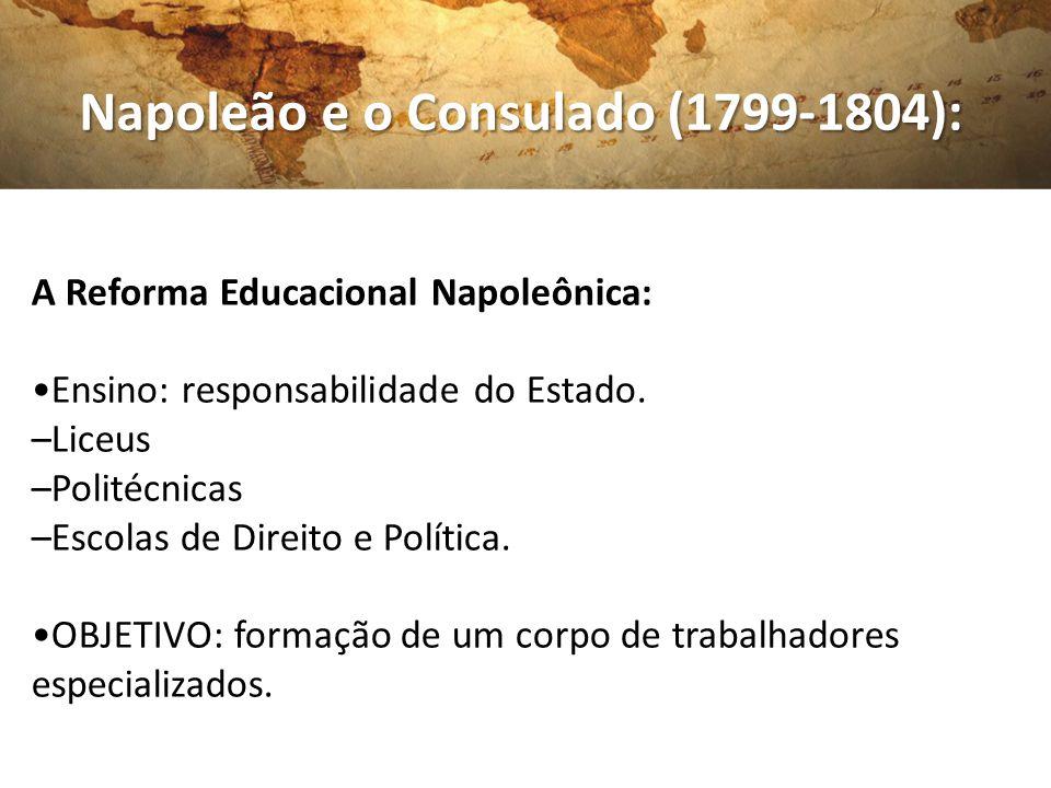 Napoleão e o Consulado (1799-1804): Napoleão e o Consulado (1799-1804): A Reforma Educacional Napoleônica: Ensino: responsabilidade do Estado. –Liceus