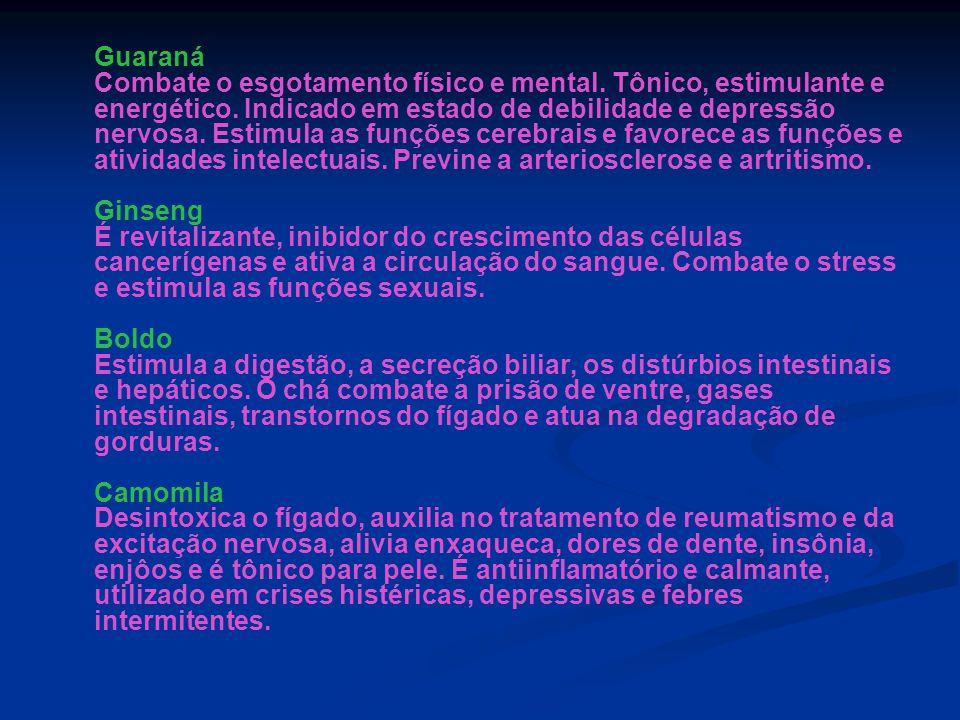 Guaraná Combate o esgotamento físico e mental. Tônico, estimulante e energético. Indicado em estado de debilidade e depressão nervosa. Estimula as fun