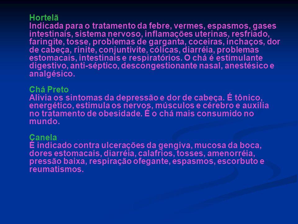 Hortelã Indicada para o tratamento da febre, vermes, espasmos, gases intestinais, sistema nervoso, inflamações uterinas, resfriado, faringite, tosse,