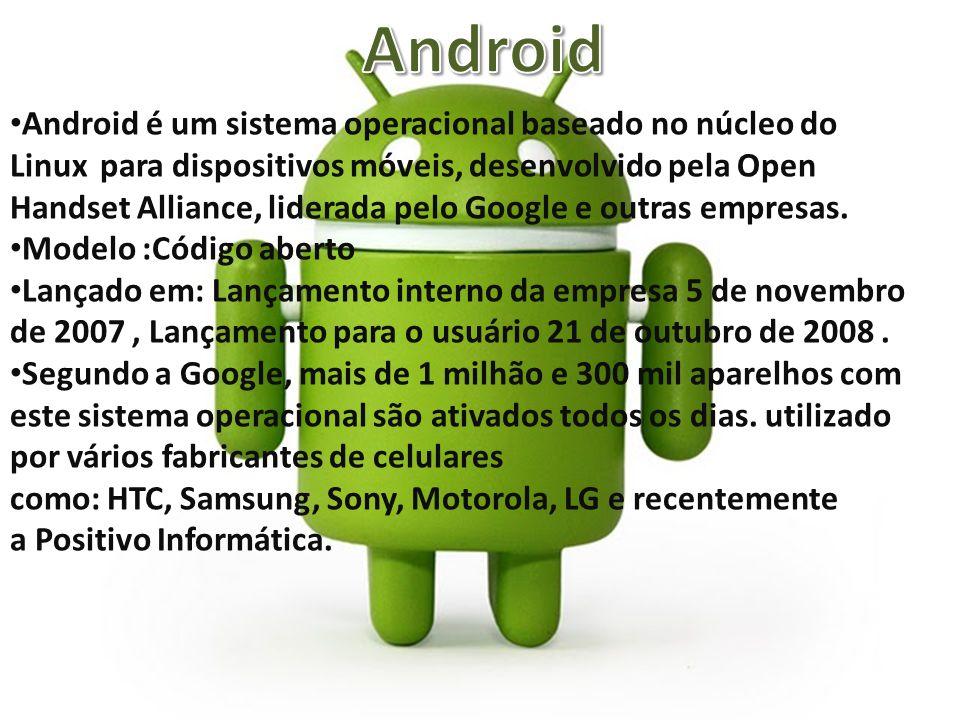 Android é um sistema operacional baseado no núcleo do Linux para dispositivos móveis, desenvolvido pela Open Handset Alliance, liderada pelo Google e outras empresas.