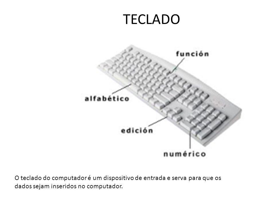 TECLADO O teclado do computador é um dispositivo de entrada e serva para que os dados sejam inseridos no computador.