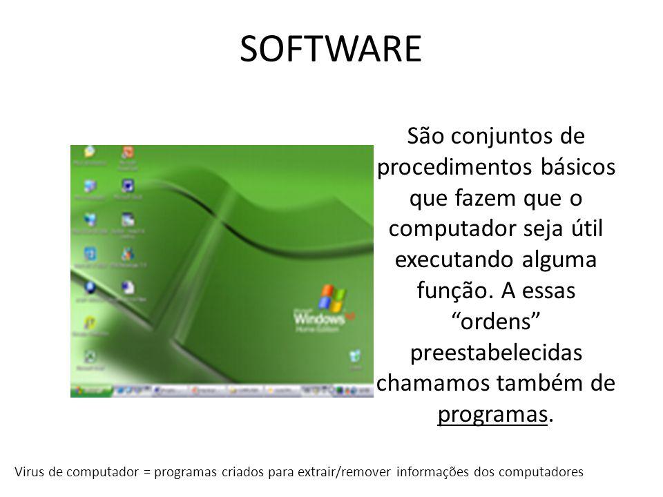 SOFTWARE São conjuntos de procedimentos básicos que fazem que o computador seja útil executando alguma função. A essas ordens preestabelecidas chamamo
