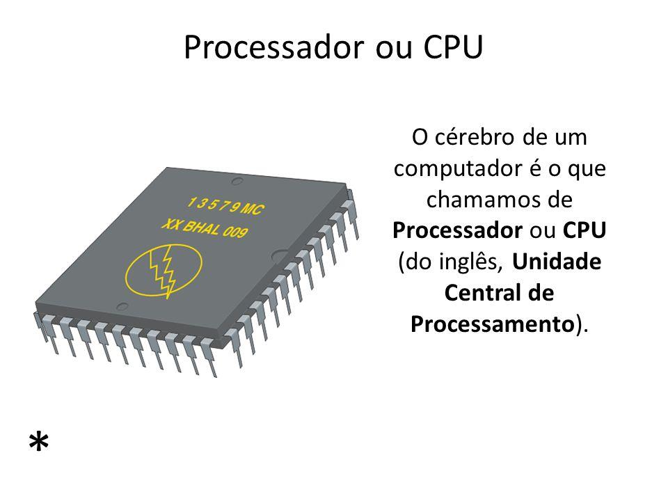 Processador ou CPU O cérebro de um computador é o que chamamos de Processador ou CPU (do inglês, Unidade Central de Processamento). *