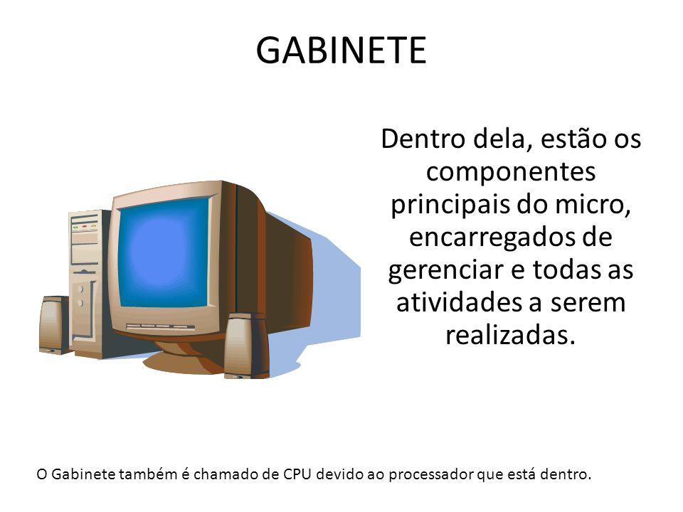 GABINETE Dentro dela, estão os componentes principais do micro, encarregados de gerenciar e todas as atividades a serem realizadas. O Gabinete também