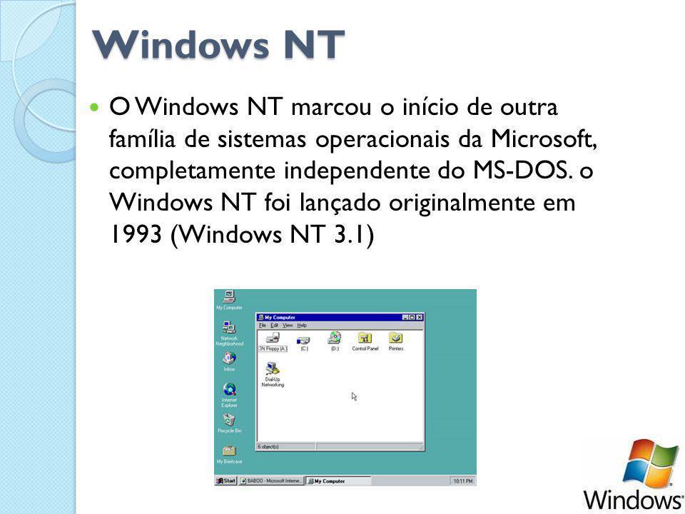Windows NT Windows NT O Windows NT marcou o início de outra família de sistemas operacionais da Microsoft, completamente independente do MS-DOS.