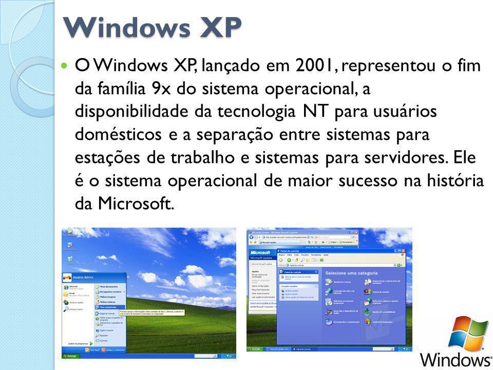 Windows XP O Windows XP, lançado em 2001, representou o fim da família 9x do sistema operacional, a disponibilidade da tecnologia NT para usuários domésticos e a separação entre sistemas para estações de trabalho e sistemas para servidores.