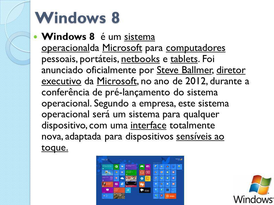Windows 8 Windows 8 é um sistema operacionalda Microsoft para computadores pessoais, portáteis, netbooks e tablets.