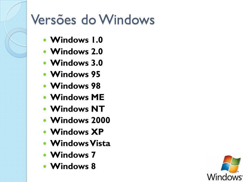 Versões do Windows Windows 1.0 Windows 2.0 Windows 3.0 Windows 95 Windows 98 Windows ME Windows NT Windows 2000 Windows XP Windows Vista Windows 7 Windows 8