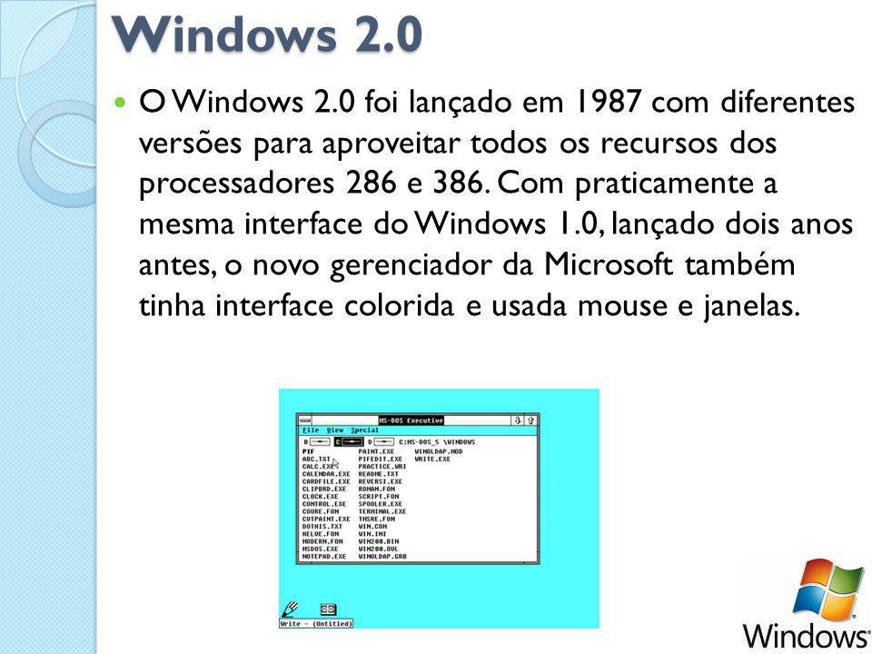 Windows 2.0 O Windows 2.0 foi lançado em 1987 com diferentes versões para aproveitar todos os recursos dos processadores 286 e 386.