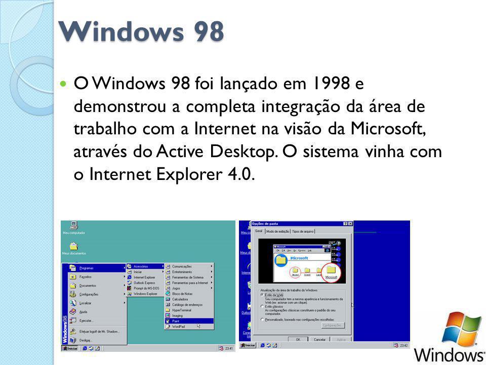 Windows 98 O Windows 98 foi lançado em 1998 e demonstrou a completa integração da área de trabalho com a Internet na visão da Microsoft, através do Active Desktop.