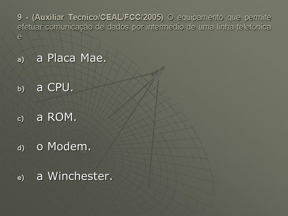 9 - (Auxiliar Tecnico/CEAL/FCC/2005) O equipamento que permite efetuar comunicação de dados por intermédio de uma linha telefônica e a) a Placa Mae. b