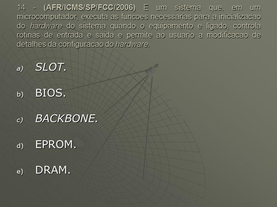 14 - (AFR/ICMS/SP/FCC/2006) E um sistema que, em um microcomputador, executa as funcoes necessarias para a inicializacao do hardware do sistema quando