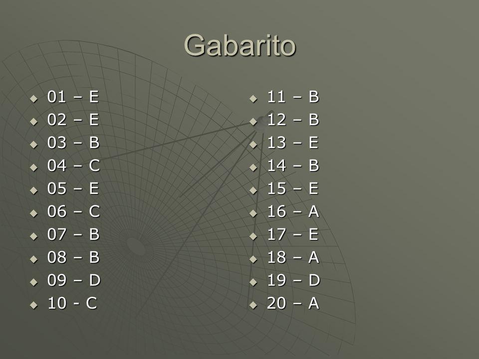 Gabarito 01 – E 01 – E 02 – E 02 – E 03 – B 03 – B 04 – C 04 – C 05 – E 05 – E 06 – C 06 – C 07 – B 07 – B 08 – B 08 – B 09 – D 09 – D 10 - C 10 - C 1