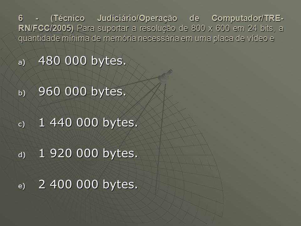 6 - (Técnico Judiciário/Operação de Computador/TRE- RN/FCC/2005) Para suportar a resolução de 800 x 600 em 24 bits, a quantidade mínima de memória nec