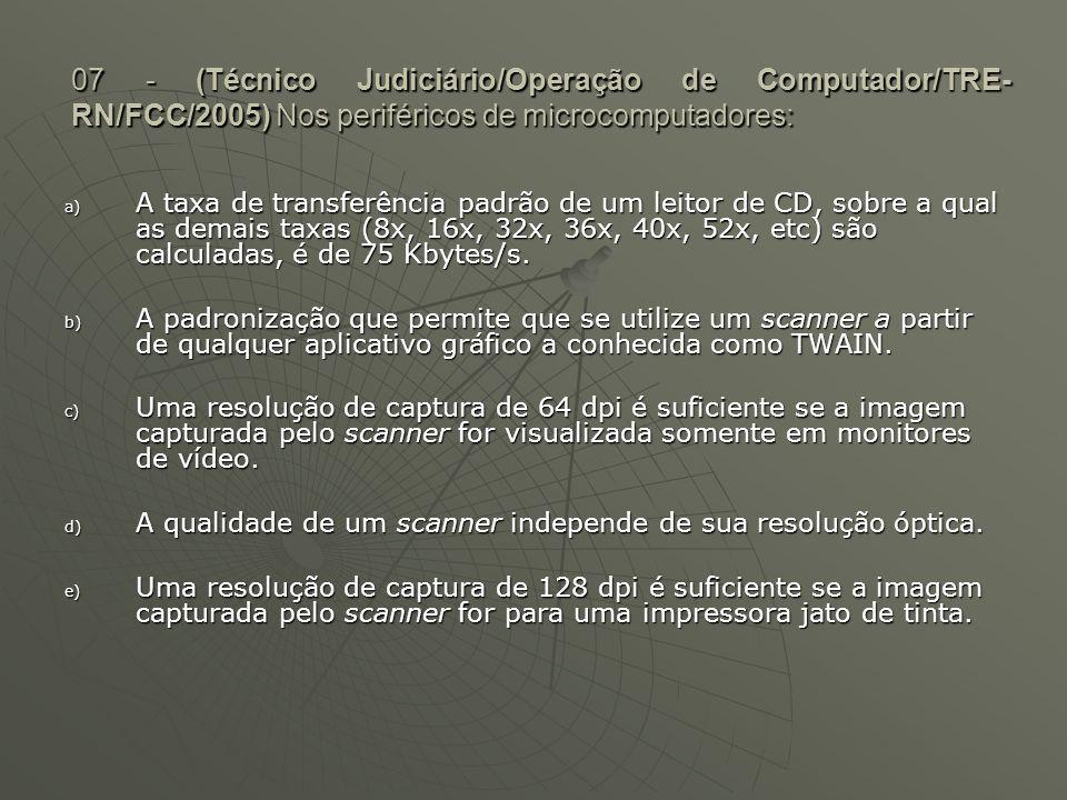 07 - (Técnico Judiciário/Operação de Computador/TRE- RN/FCC/2005) Nos periféricos de microcomputadores: a) A taxa de transferência padrão de um leitor