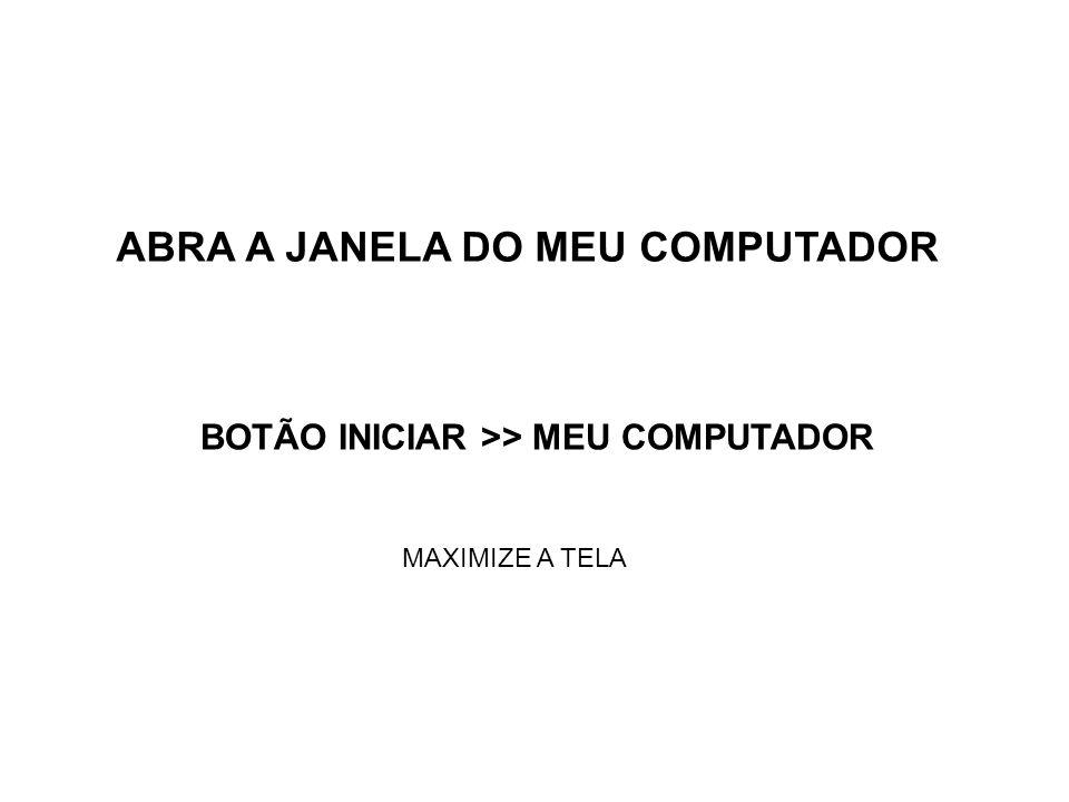 ABRA A JANELA DO MEU COMPUTADOR BOTÃO INICIAR >> MEU COMPUTADOR MAXIMIZE A TELA
