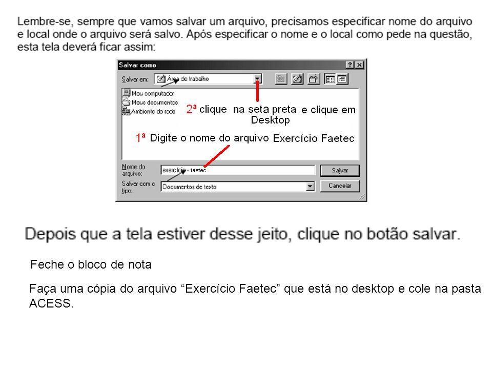 Feche o bloco de nota Faça uma cópia do arquivo Exercício Faetec que está no desktop e cole na pasta ACESS.