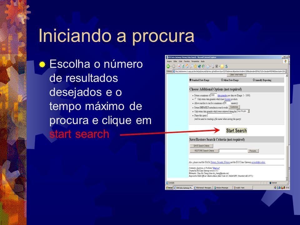 Iniciando a procura Escolha o número de resultados desejados e o tempo máximo de procura e clique em start search