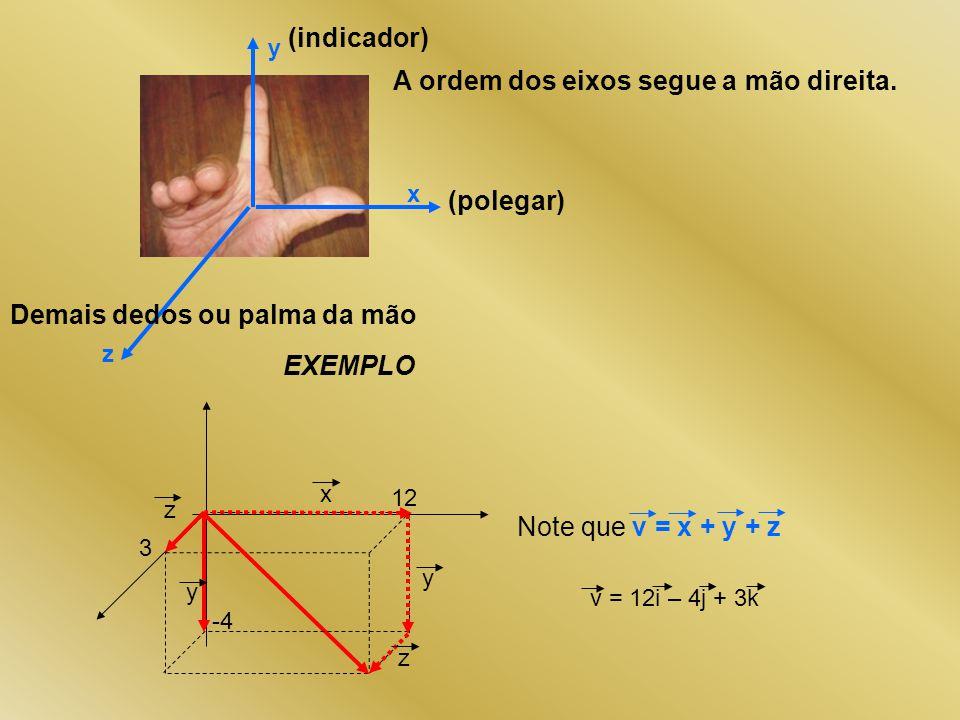 A ordem dos eixos segue a mão direita. x y z (polegar) (indicador) Demais dedos ou palma da mão 12 3 -4 x y y z z Note que v = x + y + z EXEMPLO v = 1