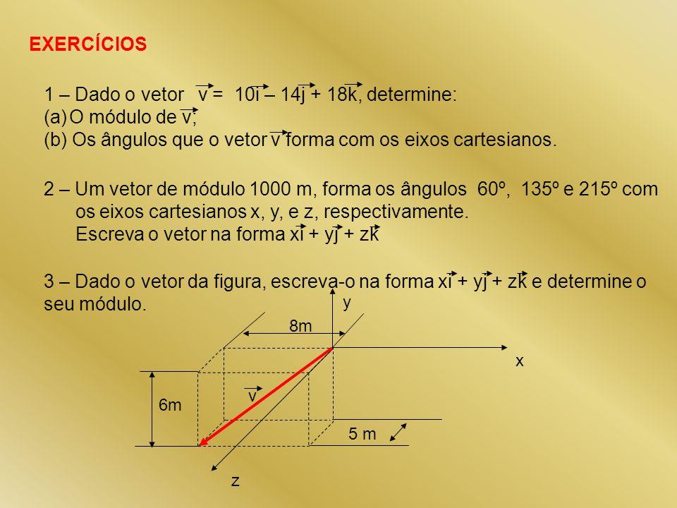 EXERCÍCIOS 1 – Dado o vetor v = 10i – 14j + 18k, determine: (a)O módulo de v; (b) Os ângulos que o vetor v forma com os eixos cartesianos. 2 – Um veto