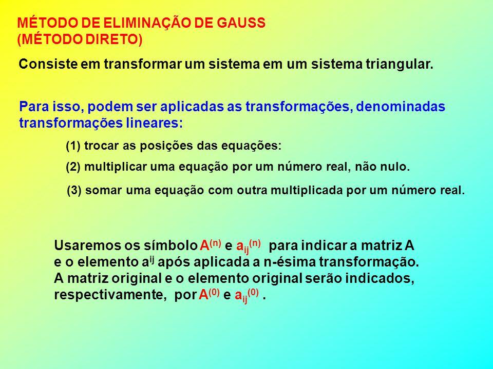 Vamos ver através de um exemplo, como resolver um sistema pelo método de eliminação de Gauss Seja o sistema: 3x + y – z = 12 x + y + 3z = 15 2x - y + 5z = 19.