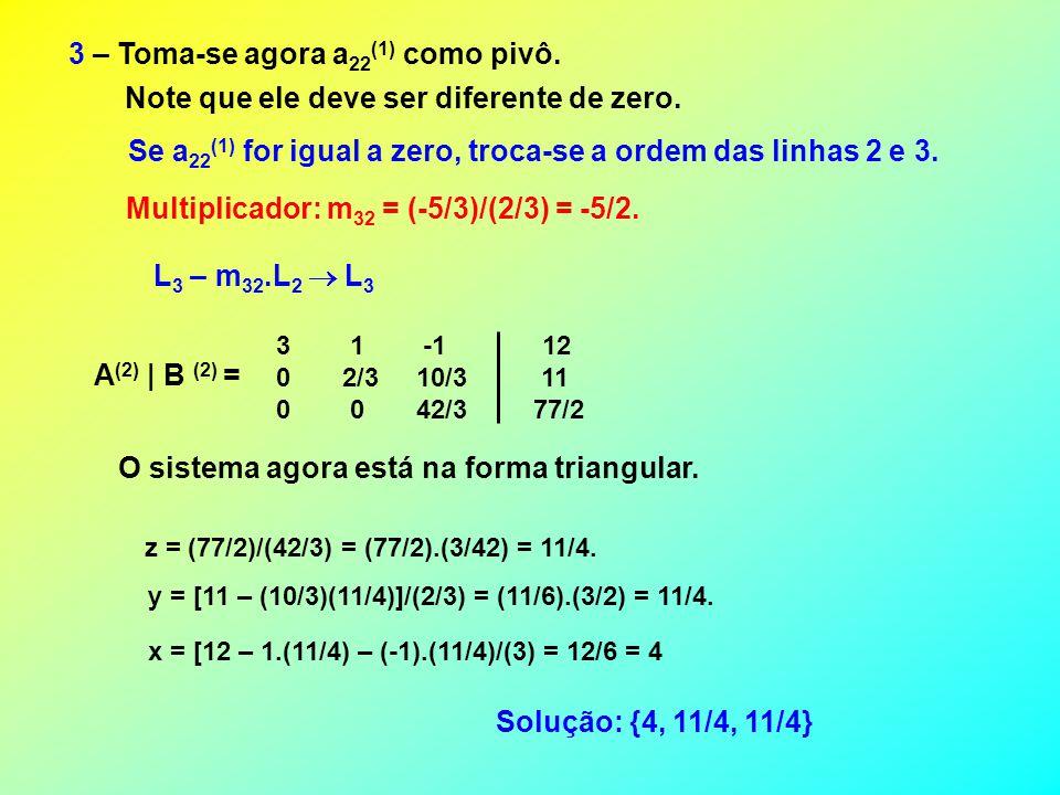 3 – Toma-se agora a 22 (1) como pivô.Note que ele deve ser diferente de zero.