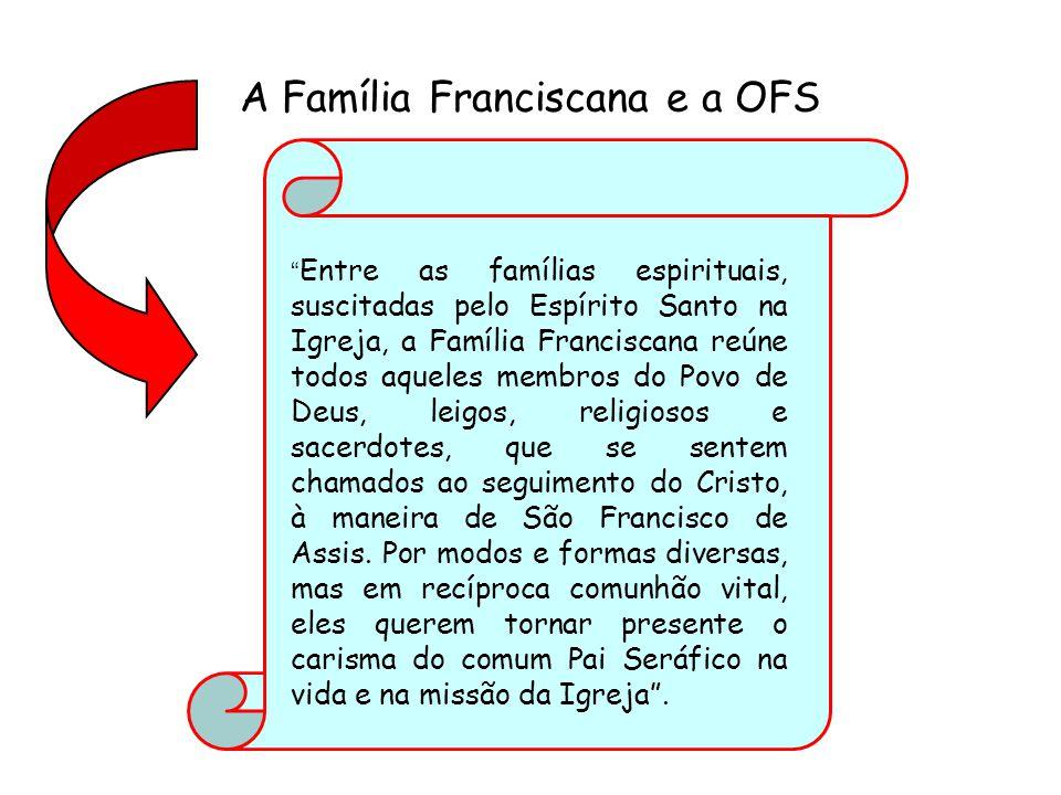 A Família Franciscana e a OFS Entre as famílias espirituais, suscitadas pelo Espírito Santo na Igreja, a Família Franciscana reúne todos aqueles membros do Povo de Deus, leigos, religiosos e sacerdotes, que se sentem chamados ao seguimento do Cristo, à maneira de São Francisco de Assis.