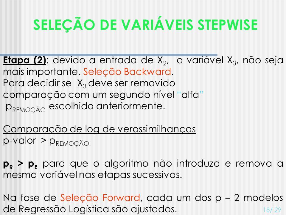 SELEÇÃO DE VARIÁVEIS STEPWISE 18/ 29 Etapa (2) : devido a entrada de X 2, a variável X 3, não seja mais importante. Seleção Backward. Para decidir se