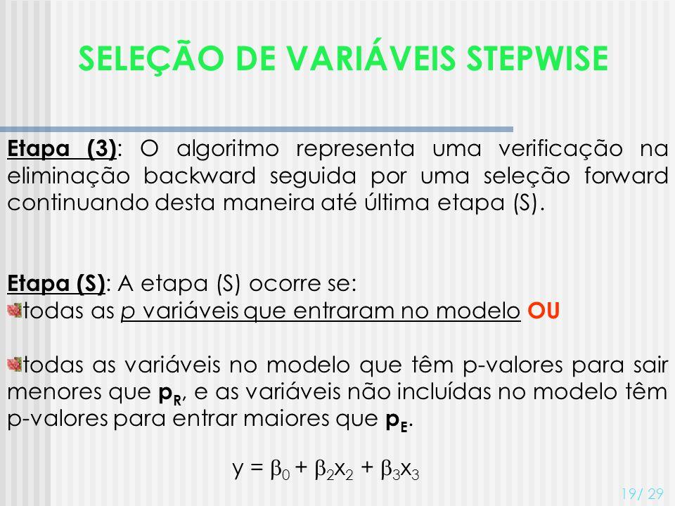SELEÇÃO DE VARIÁVEIS STEPWISE 19/ 29 Etapa (3) : O algoritmo representa uma verificação na eliminação backward seguida por uma seleção forward continu