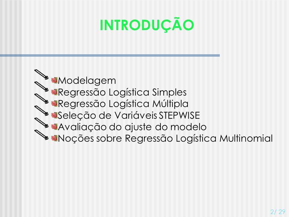 INTRODUÇÃO 2/ 29 Modelagem Regressão Logística Simples Regressão Logística Múltipla Seleção de Variáveis STEPWISE Avaliação do ajuste do modelo Noções
