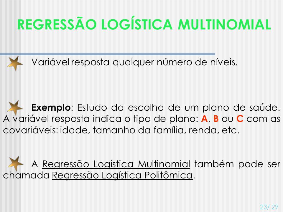 REGRESSÃO LOGÍSTICA MULTINOMIAL 23/ 29 Variável resposta qualquer número de níveis. Exemplo : Estudo da escolha de um plano de saúde. A variável respo