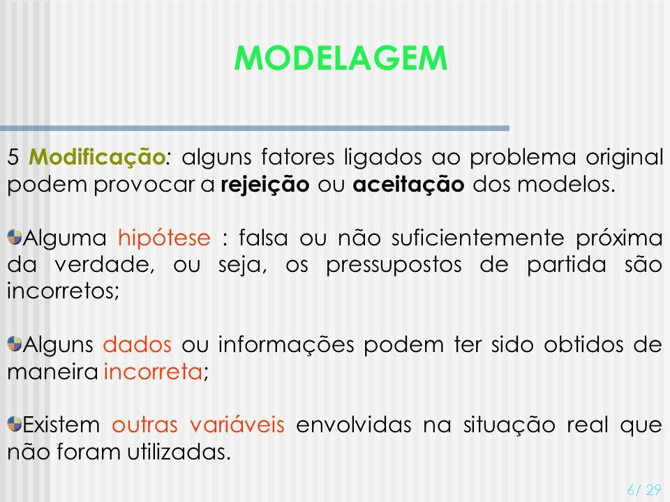 MODELAGEM 5 Modificação : alguns fatores ligados ao problema original podem provocar a rejeição ou aceitação dos modelos. Alguma hipótese : falsa ou n