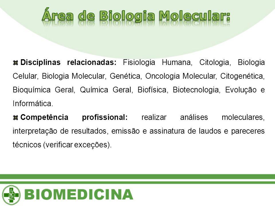 Disciplinas relacionadas: Fisiologia Humana, Citologia, Biologia Celular, Biologia Molecular, Genética, Oncologia Molecular, Citogenética, Bioquímica