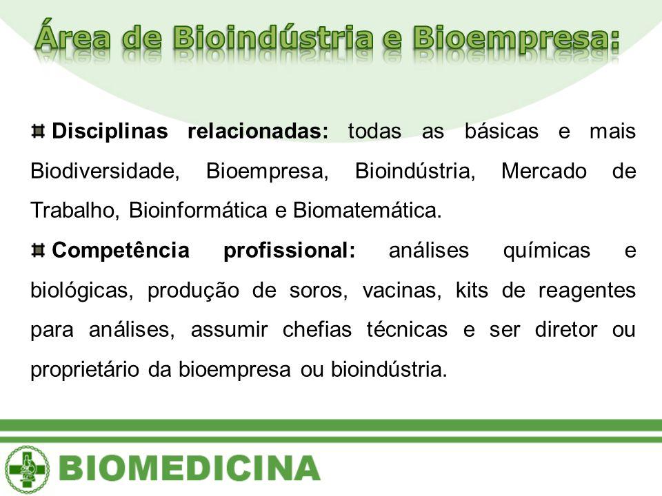 Disciplinas relacionadas: todas as básicas e mais Biodiversidade, Bioempresa, Bioindústria, Mercado de Trabalho, Bioinformática e Biomatemática. Compe
