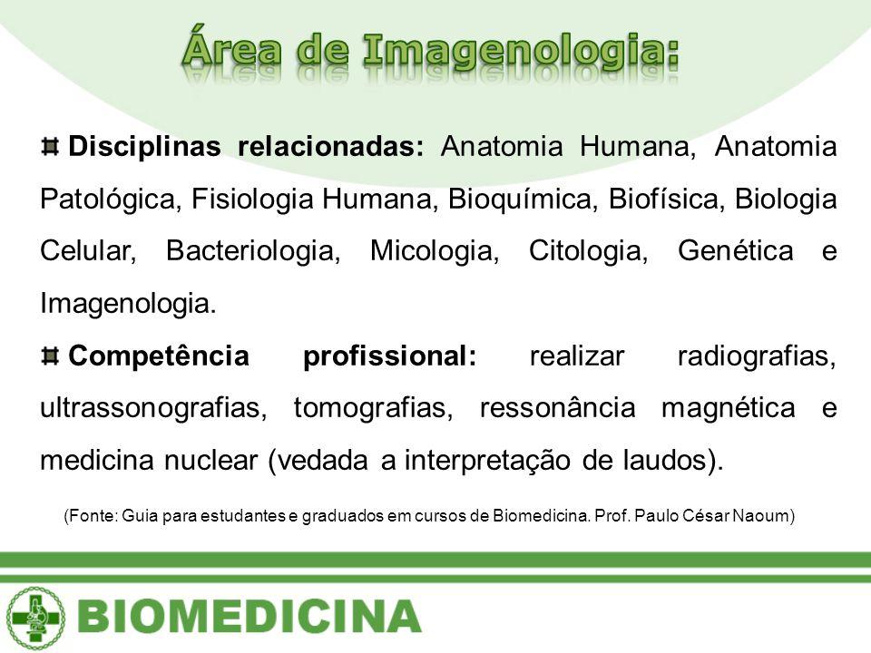Disciplinas relacionadas: Anatomia Humana, Anatomia Patológica, Fisiologia Humana, Bioquímica, Biofísica, Biologia Celular, Bacteriologia, Micologia,