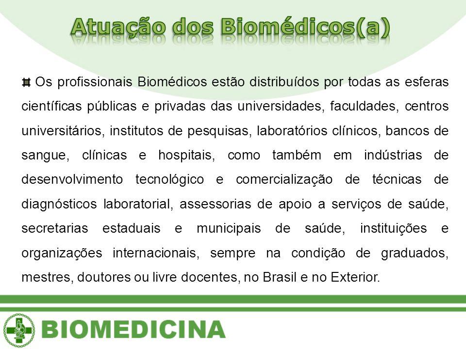 Os profissionais Biomédicos estão distribuídos por todas as esferas científicas públicas e privadas das universidades, faculdades, centros universitár