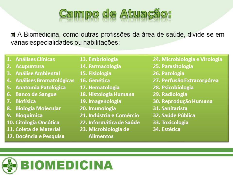 A Biomedicina, como outras profissões da área de saúde, divide-se em várias especialidades ou habilitações: 1.Análises Clínicas 2.Acupuntura 3.Análise