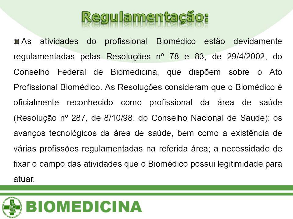 As atividades do profissional Biomédico estão devidamente regulamentadas pelas Resoluções nº 78 e 83, de 29/4/2002, do Conselho Federal de Biomedicina