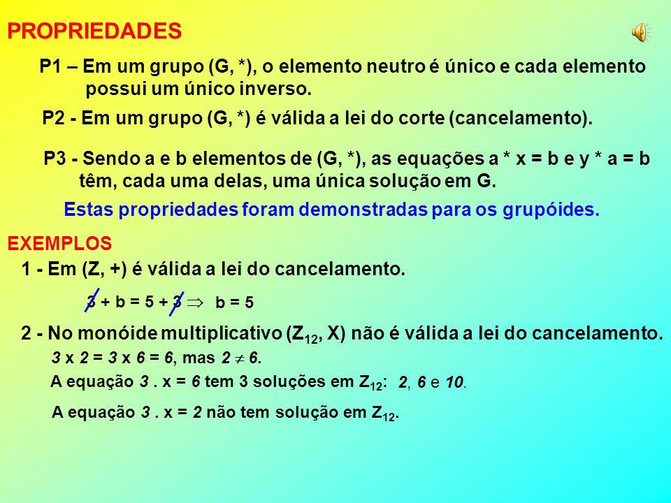 1 - A estrutura (Z +, +) não é um grupo pois não existe elemento neutro. EXEMPLOS 2 - A estrutura (N, +) não é um grupo pois não existe inverso. 3 - A