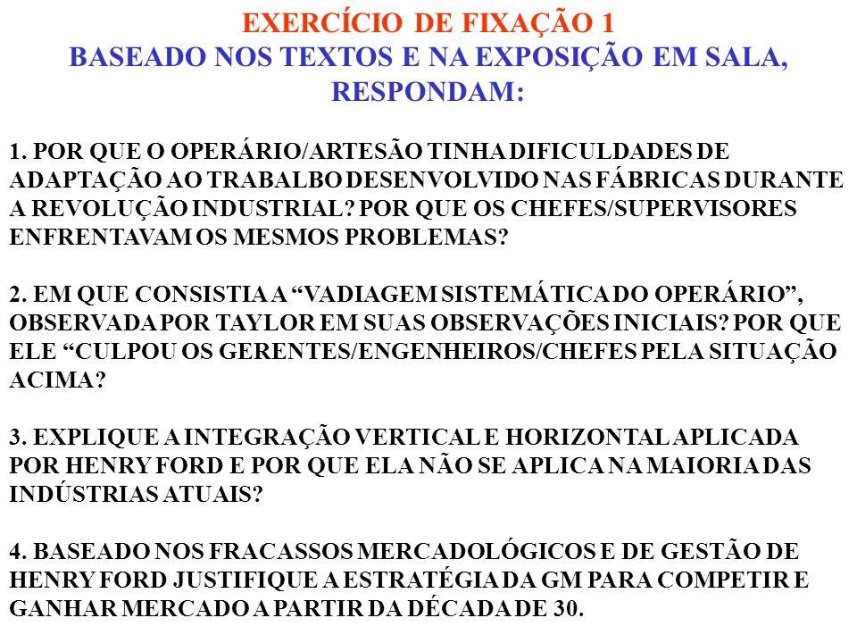 EXERCÍCIO DE FIXAÇÃO 1 BASEADO NOS TEXTOS E NA EXPOSIÇÃO EM SALA, RESPONDAM: 1. POR QUE O OPERÁRIO/ARTESÃO TINHA DIFICULDADES DE ADAPTAÇÃO AO TRABALBO