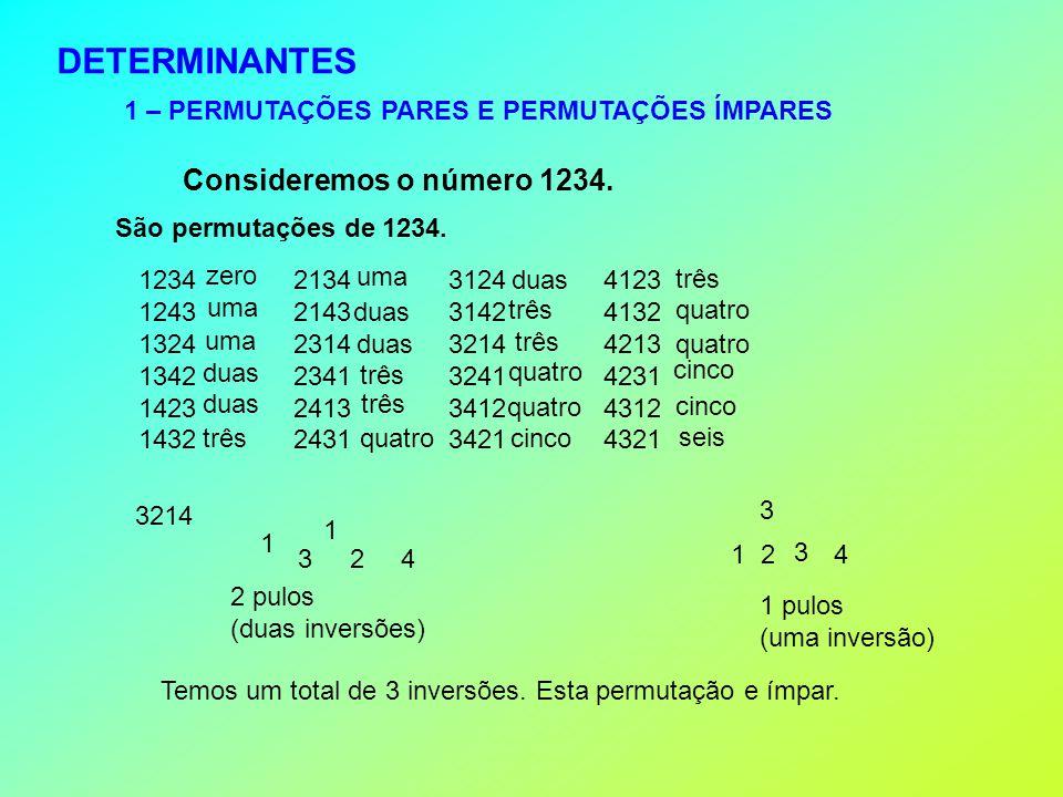 DETERMINANTES 1 – PERMUTAÇÕES PARES E PERMUTAÇÕES ÍMPARES Consideremos o número 1234.