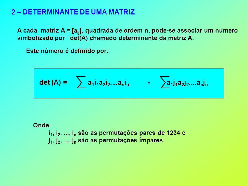 2 – DETERMINANTE DE UMA MATRIZ A cada matriz A = [a ij ], quadrada de ordem n, pode-se associar um número simbolizado por det(A) chamado determinante da matriz A.