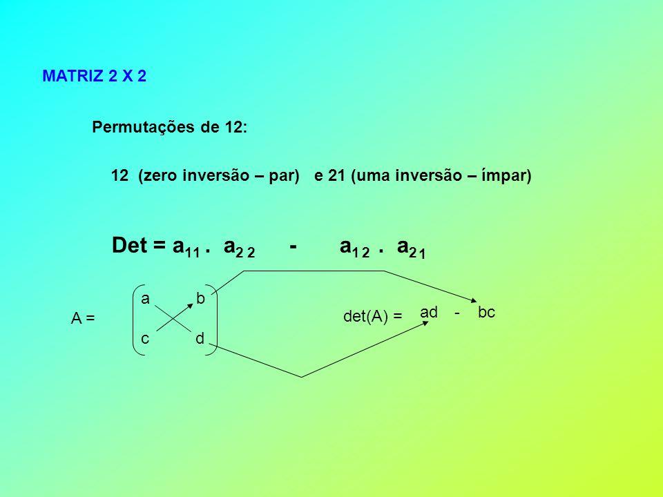 MATRIZ 2 X 2 Permutações de 12: 12 (zero inversão – par) e 21 (uma inversão – ímpar) Det = a 1.