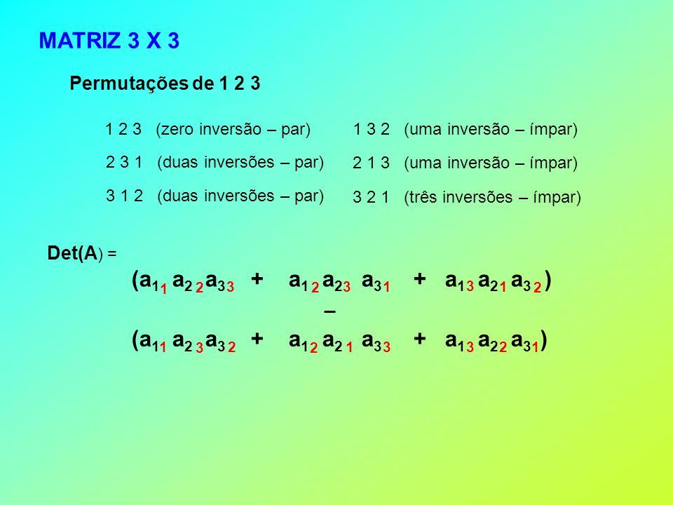 MATRIZ 3 X 3 Permutações de 1 2 3 1 2 3 (zero inversão – par) 2 3 1 (duas inversões – par) 3 1 2 (duas inversões – par) 1 3 2 (uma inversão – ímpar) 2 1 3 (uma inversão – ímpar) 3 2 1 (três inversões – ímpar) Det(A ) = 1 11 222 33 3 111 32 2 2 3 3 (a 1 a 2 a 3 + a 1 a 2 a 3 + a 1 a 2 a 3 )