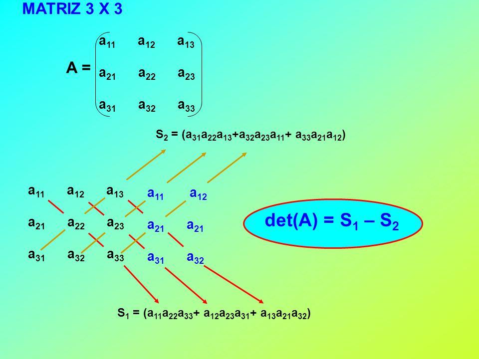 A = a 11 a 12 a 13 a 21 a 22 a 23 a 31 a 32 a 33 a 11 a 12 a 13 a 21 a 22 a 23 a 31 a 32 a 33 a 11 a 12 a 21 a 31 a 32 S 1 = (a 11 a 22 a 33 + a 12 a 23 a 31 + a 13 a 21 a 32 ) S 2 = (a 31 a 22 a 13 +a 32 a 23 a 11 + a 33 a 21 a 12 ) det(A) = S 1 – S 2 MATRIZ 3 X 3