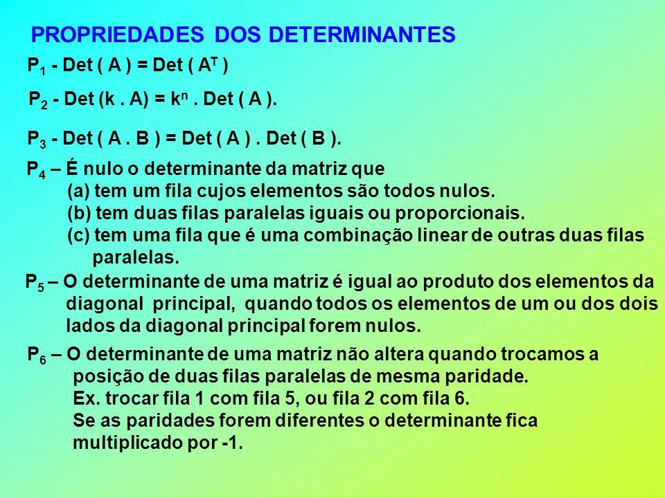 PROPRIEDADES DOS DETERMINANTES P 1 - Det ( A ) = Det ( A T ) P 2 - Det (k.